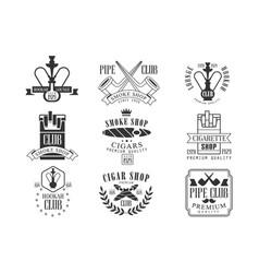 smoke shop vintage black and white emblems vector image