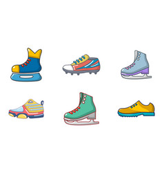 Sport shoes icon set cartoon style vector