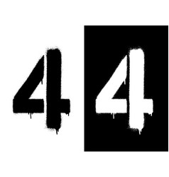 stencil numeral 4 and drip paint black on white vector image