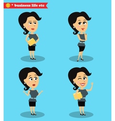 Successful office girl standing set vector