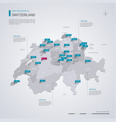 Switzerland map with infographic elements pointer vector