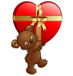 teddy bear carrying big gift red heart vector image