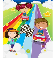 Three kids playing car racing vector