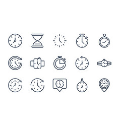 Time clock timer hour date linear design set icons vector