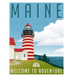 Travel poster or sticker maine lighthouse vector