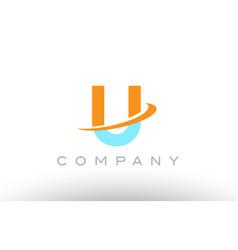 U orange blue logo icon alphabet design vector
