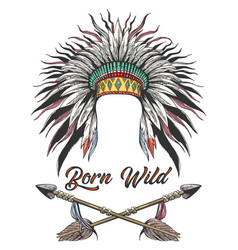 war bonnet and arrows tattoo vector image