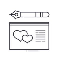 Wedding card icon linear isolated vector