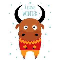 winter card with ox on white background vector image