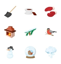 winter holidays icons set cartoon style vector image