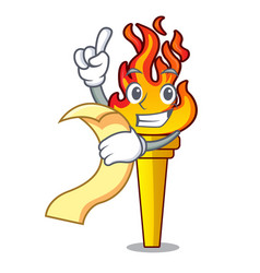 With menu torch mascot cartoon style vector