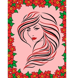 Woman in floral frame vector image