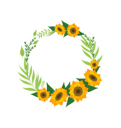 wreath with sunflowers floral round border vector image