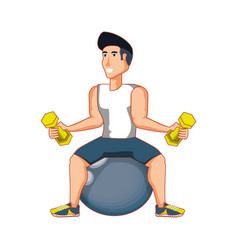 Young athletic man practicing pilates vector