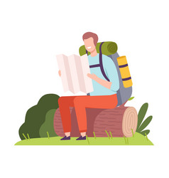 Young man with backpack sitting on log and vector
