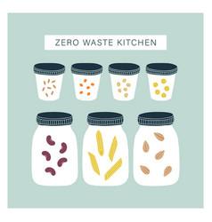 zero waste kitchen pantry vector image