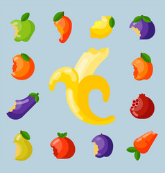 bitten fruits vitamin food and vegetable cut vector image