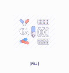 collection of different pills vector image