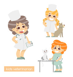 cute kids vets isolated set of 3 characters of vector image vector image