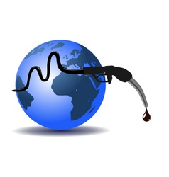 Earth and refueling hose vector image vector image