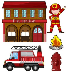 Fireman and fire station vector image vector image
