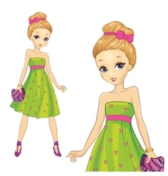 Girl In Green Hearts Print Dress vector image
