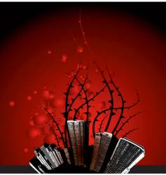 grunge city thorns vector image vector image