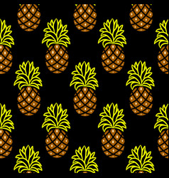 pineapple green and brown dark seamless vector image vector image
