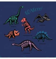 Adorable card with funny dinosaur skeletons in vector image
