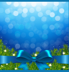 Blue xmas background with bow vector