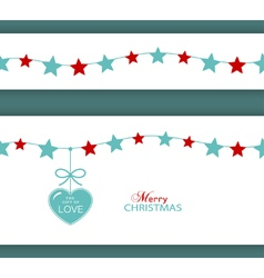 Christmas star border with heart vector image vector image