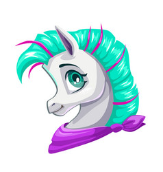 cute cartoon little horse face vector image vector image