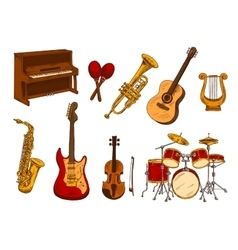 Retro sketch of classical musical instruments vector image vector image