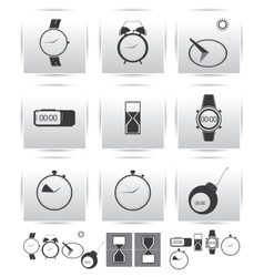 set icons Time and clock vector image vector image