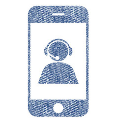 Smartphone operator contact portrait fabric vector