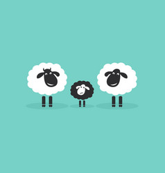 family sheep on blue background farm animals vector image