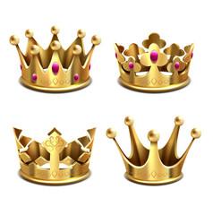 gold 3d crown set royal monarchy and kings vector image vector image
