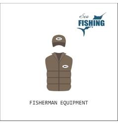 Cap and jacket Fisherman equipment vector image