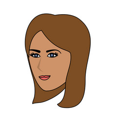 color image cartoon side profile face woman with vector image