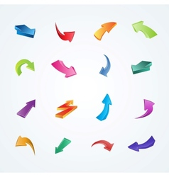 Colorful collection of 3d arrows vector image vector image