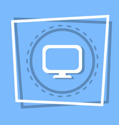 Computer screen icon pc monitor web button vector