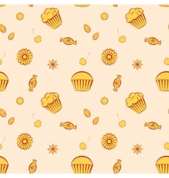 Hand drawn seamless patterns with cupcakes vector image vector image