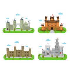 medieval castles fortresses in a flat style vector image