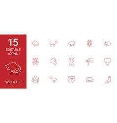 15 wildlife icons vector image