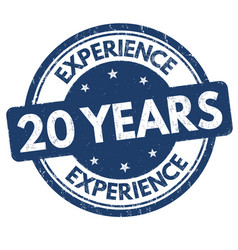 20 years experience sign or stamp vector