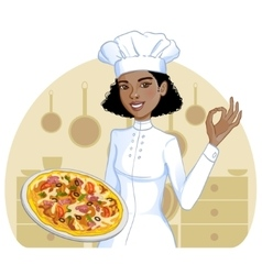 African american cook girl with pizza on plate vector