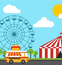 Amusement theme park flat design vector