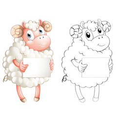 Animal outline for sheep holding paper vector