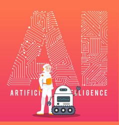 astronaut and ai robot with high technology vector image