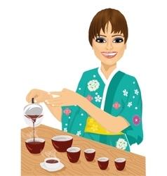 Attractive woman in kimono pouring tea vector